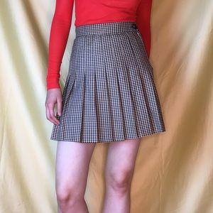Vintage Houndstooth Pleated Mini Skirt